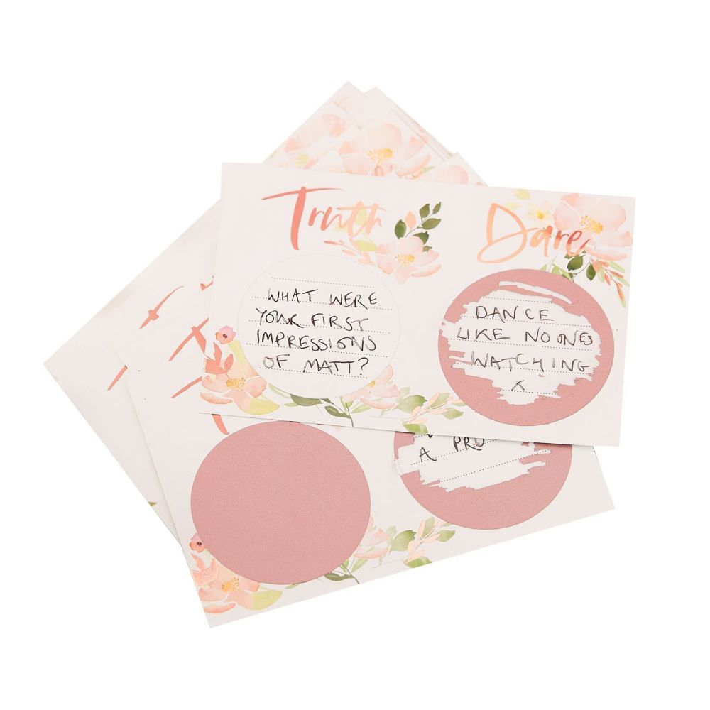 Ginger Ray Truth or Dare Scratch and Reveal Game - Botanical and Rose Gold