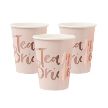Ginger Ray 'Team Bride' Paper Cups - Pack of 8