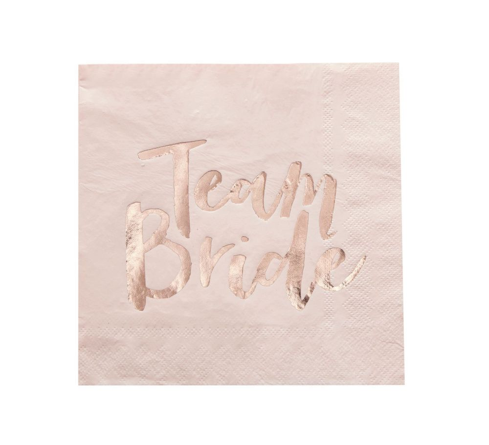 Ginger Ray 'Team Bride' Pink  and Rose Gold Paper Napkin - Pack of 20