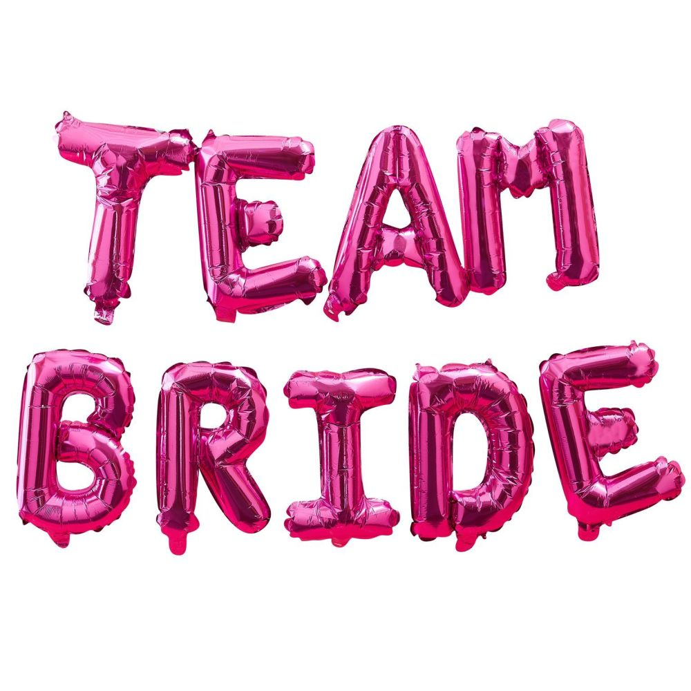 Ginger Ray 'Team Bride' Hot Pink Inflatable Garland