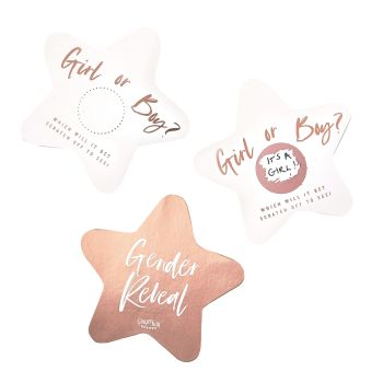 Ginger Ray Rose Gold Gender Reveal Scratch Stars - Pack of 10