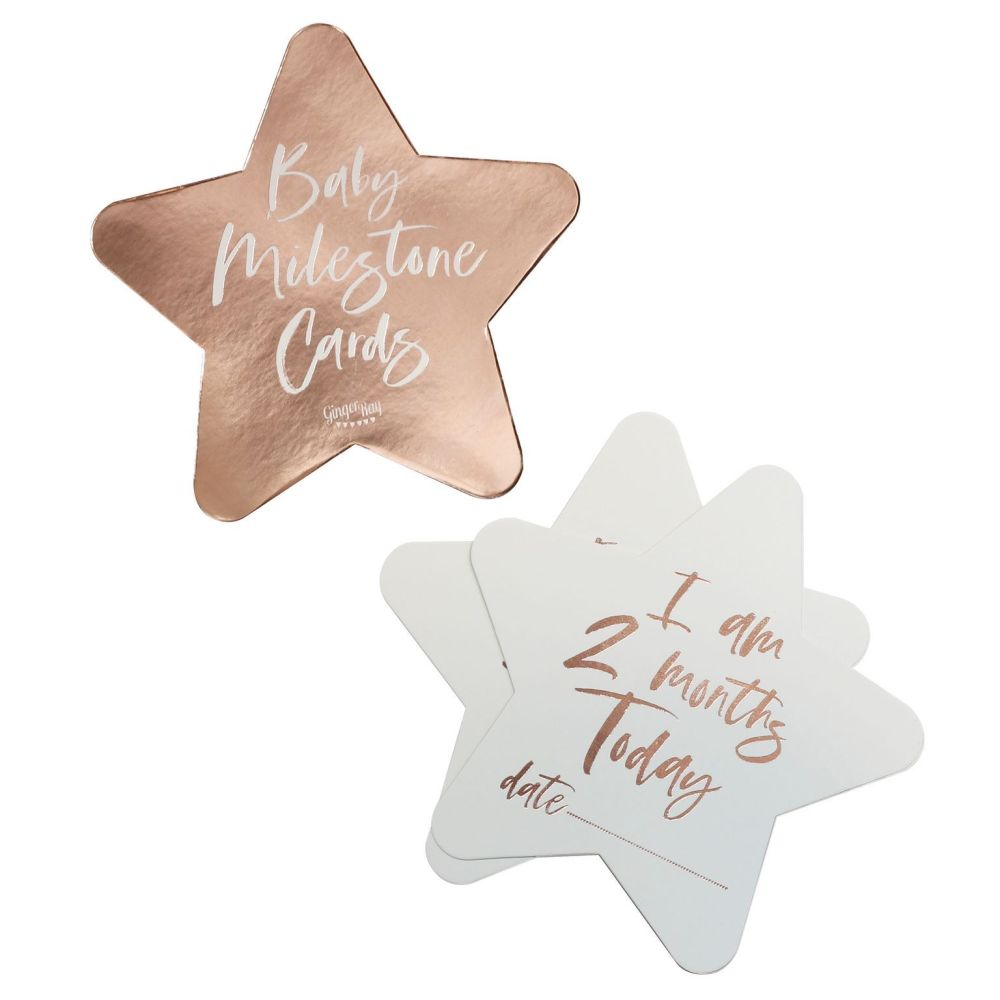 Ginger Ray Rose Gold Baby Milestone Stars - Pack of 24