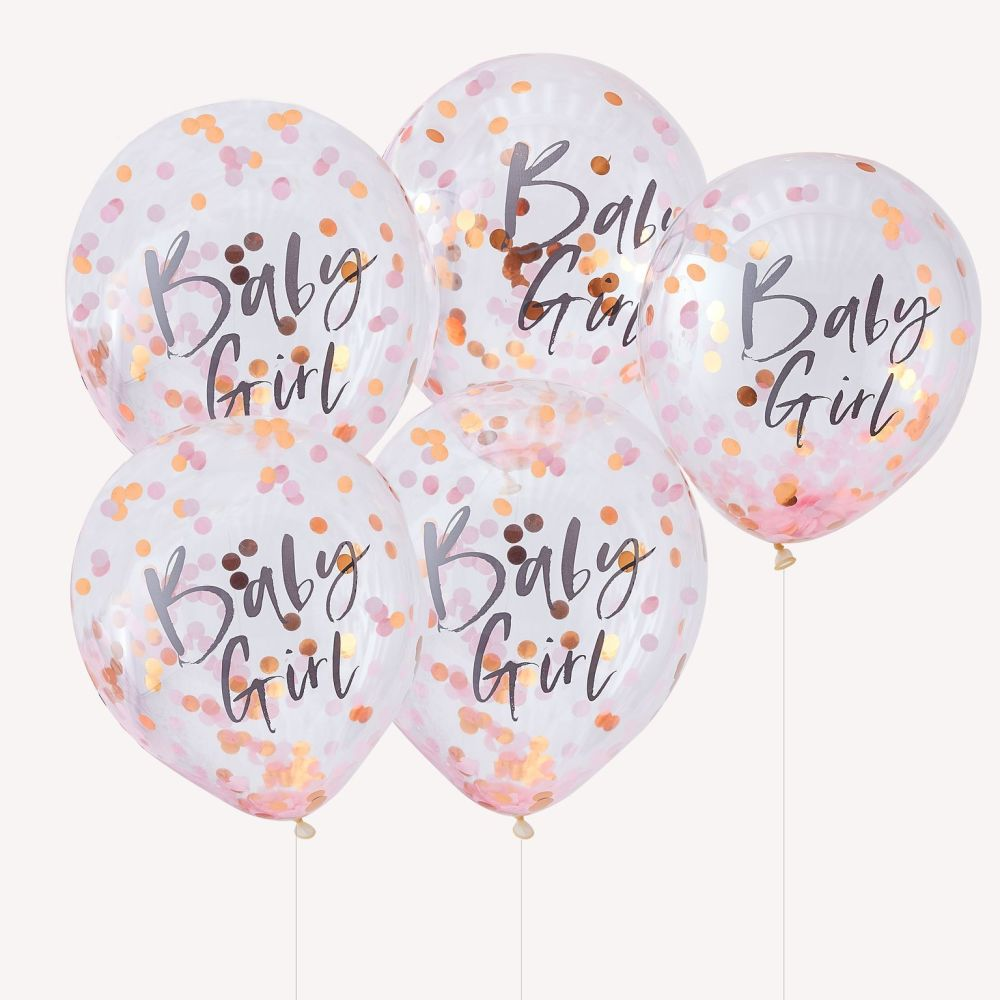 Ginger Ray 'Baby Girl' Pink Confetti Balloons - Pack of 5