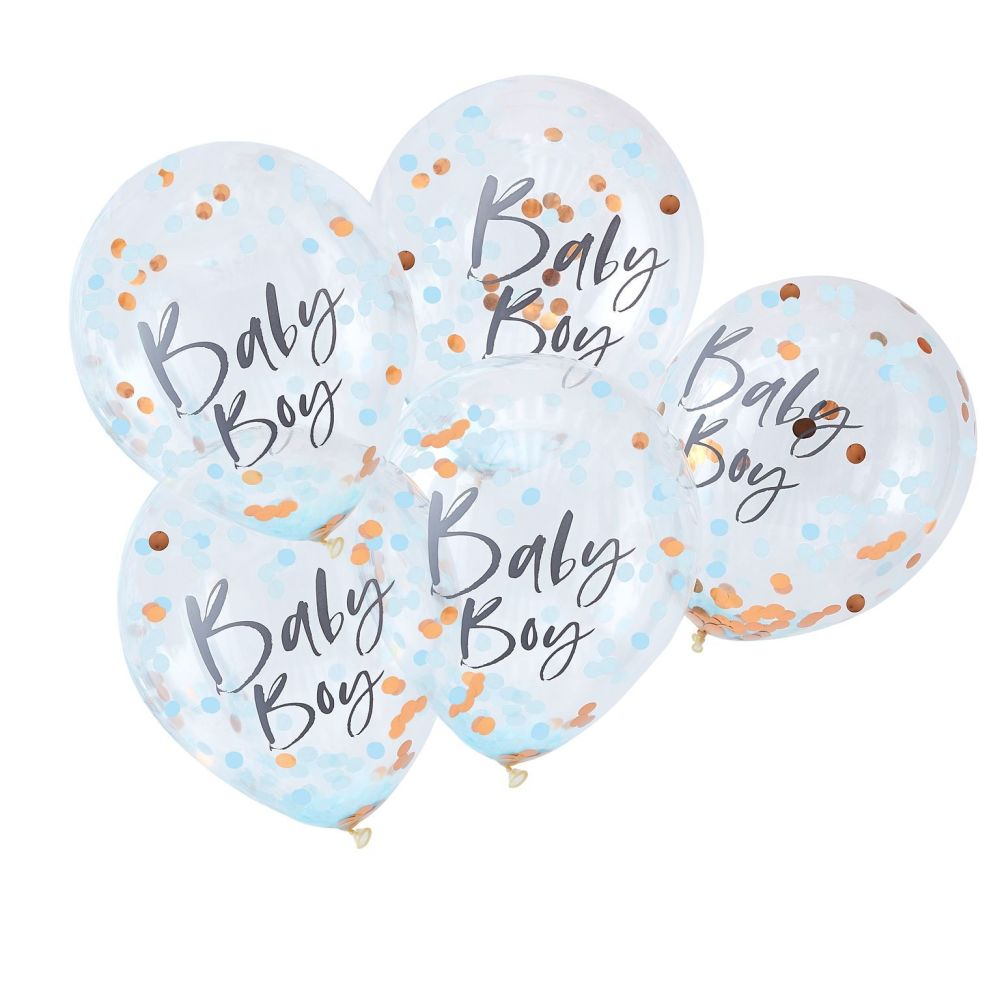 Ginger Ray 'Baby Boy' Blue Confetti Balloons - Pack of 5