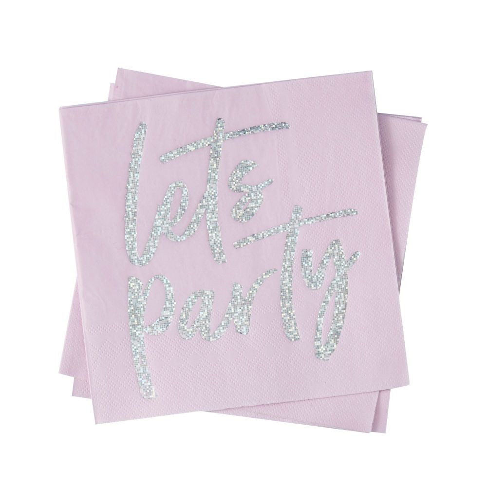Ginger Ray 'Let's Party' Paper Napkins - Pack of 16