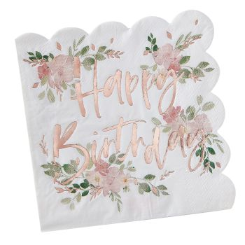 Ginger Ray 'Happy Birthday' Floral Napkin - Pack of 16