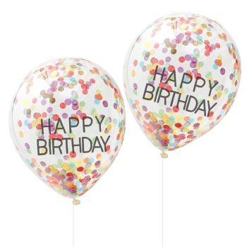 Ginger Ray 'Happy Birthday' Rainbow Confetti Balloons - Pack of 5