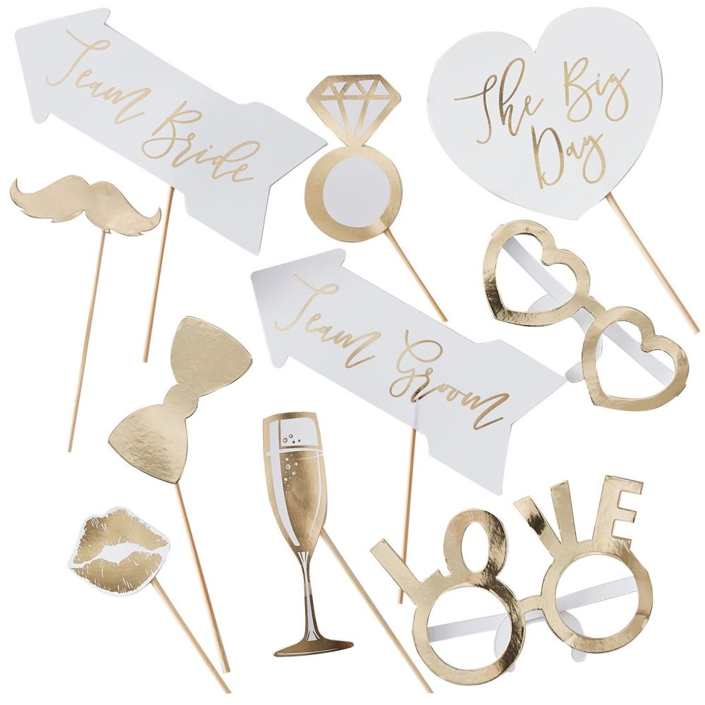 Ginger Ray Wedding Photo Booth Props - Set of 10