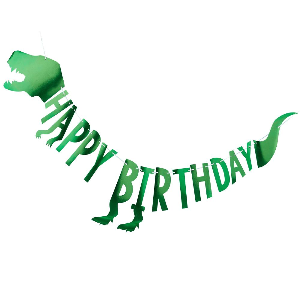 Ginger Ray Roarsome 'Happy Birthday' T-Rex Banner