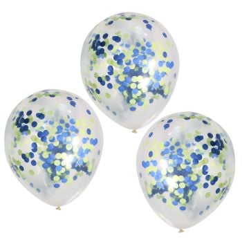 Ginger Ray Roarsome Blue and Green Confetti Balloons