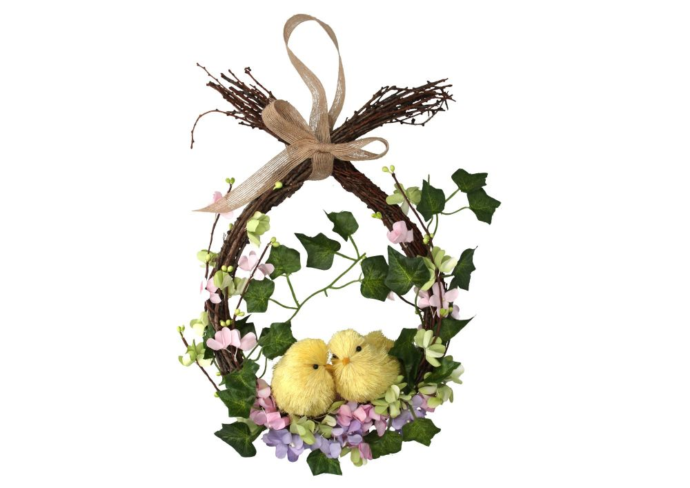Gisela Graham Bristle Chick and Flowers Wreath