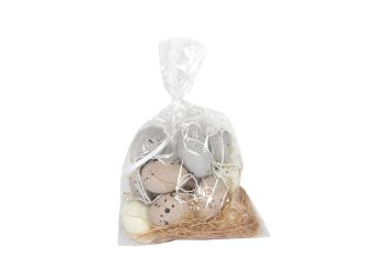 Gisela Graham Bag of 12 Mini Natural Hanging Eggs