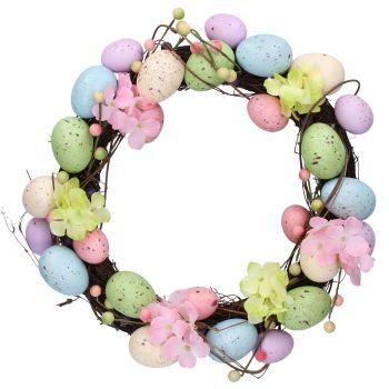 Gisela Graham Pastel Egg Wreath with Flowers