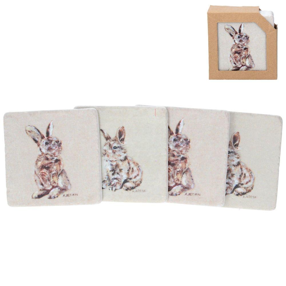 Gisela Graham Resin Bunny Coaster - Set of 4