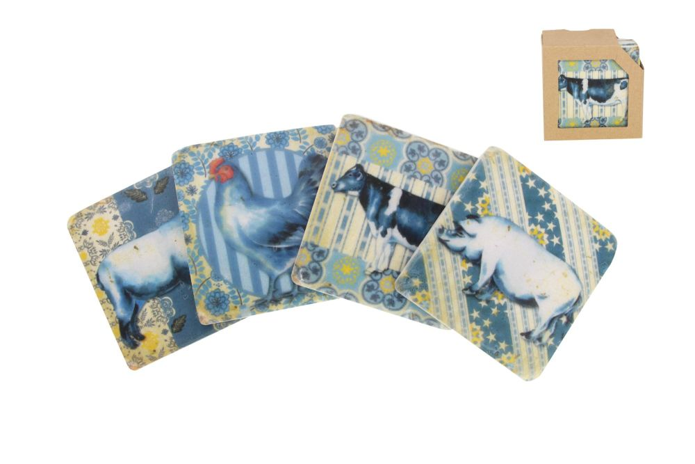 Gisela Graham Resin Blue and White Farmyard Coasters - Set of 4