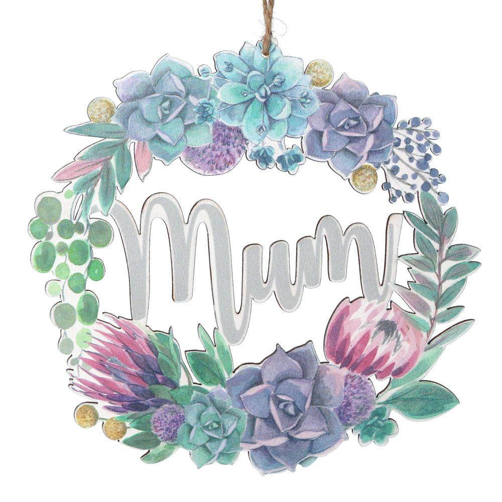 Gisela Graham Desert Blooms Wooden Laser Cut 'Mum' Decoration