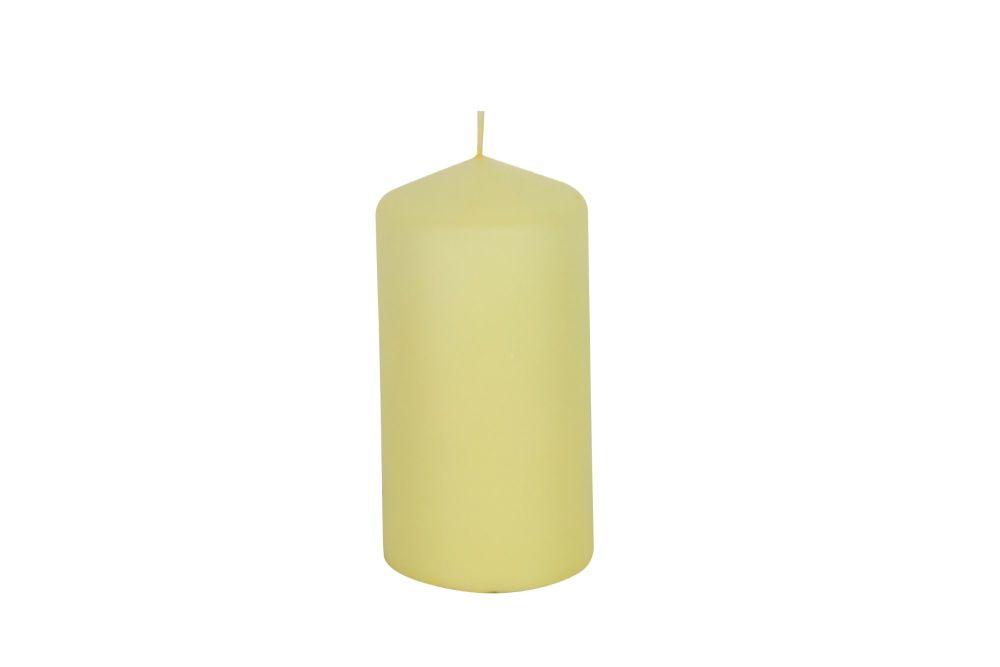 Gisela Graham Pale Yellow Wax Pillar Candle