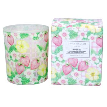 Gisela Graham Rose and Summer Berry Scented Large Boxed Candle