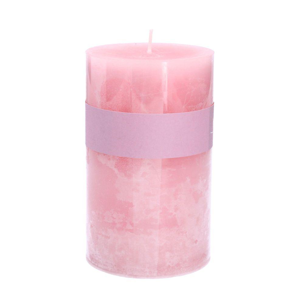Gisela Graham Pink Rose Scented Pillar Candle - Medium