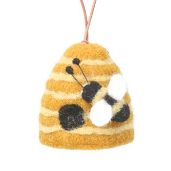 Gisela Graham Beehive in Wool Hanging Decoration