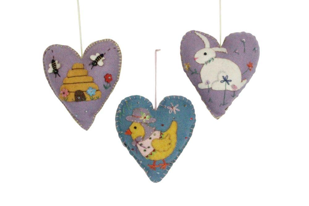 Gisela Graham Felt Heart Hanging Decorations - 3 Assorted