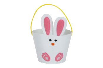 Gisela Graham White Felt Bunny Basket