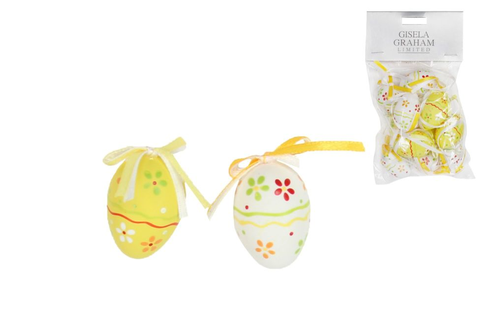 Gisela Graham Yellow and White Paper Mini Egg Decorations - Pack of 12