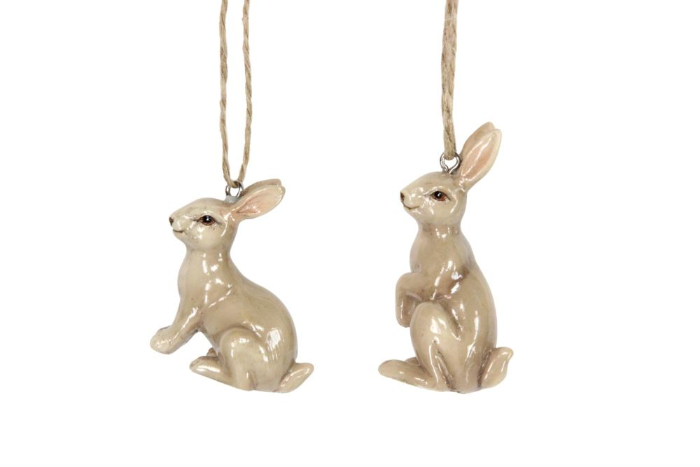 Gisela Graham Brown Ceramic Bunny Decorations - Set of 2