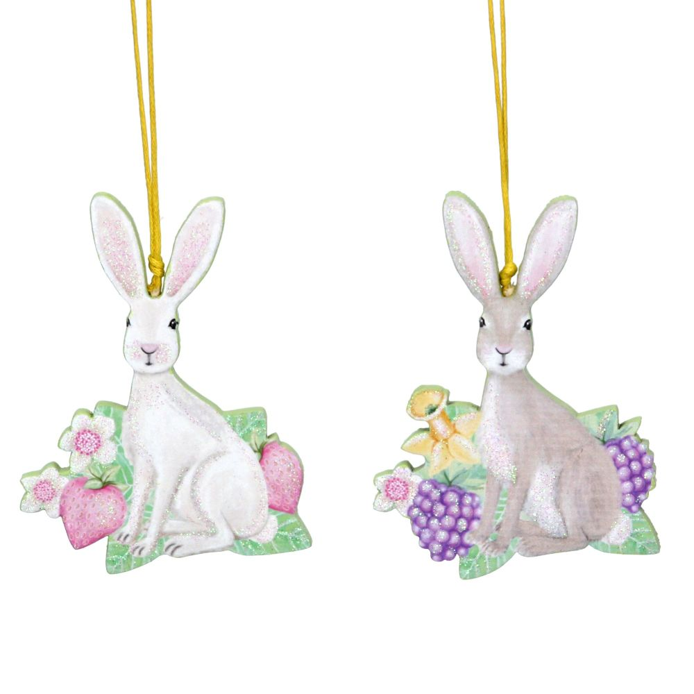 Gisela Graham Wooden Bunny with Fruits Decorations - Set of 2