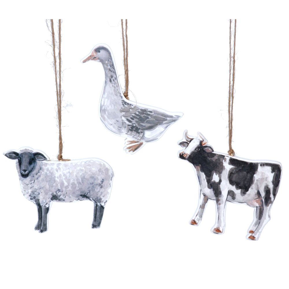 Gisela Graham Wooden Farmyard Hanging Decorations - Set of 3