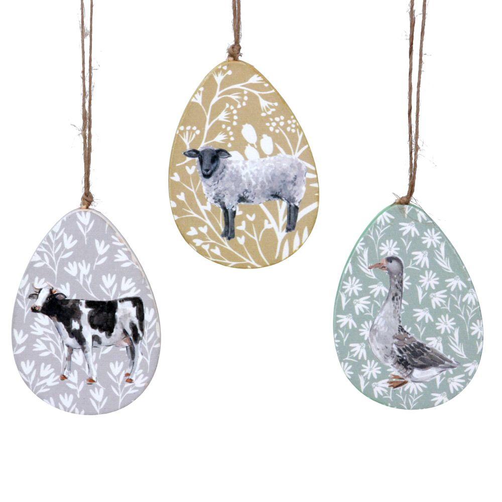 Gisela Graham Wooden Farmyard Egg Shaped Hanging Decorations - Set of 3