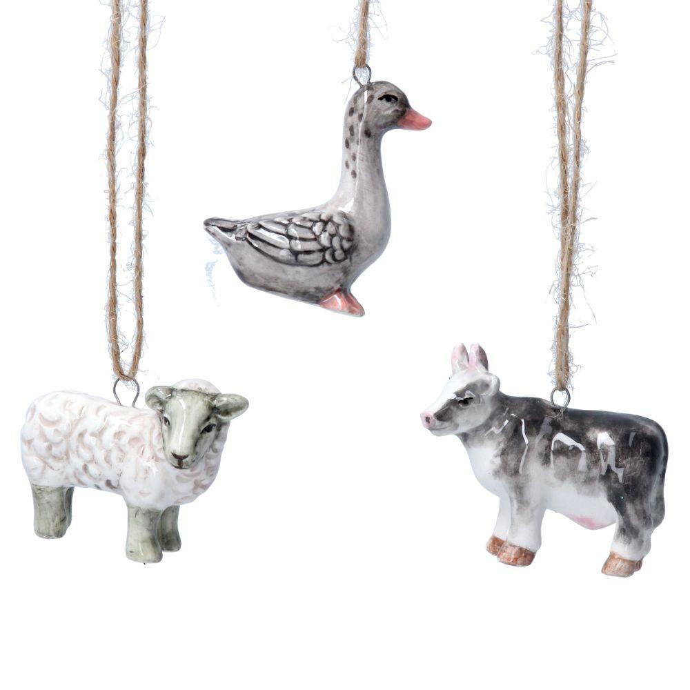 Gisela Graham Farmyard Ceramic Hanging Decorations - 3 Assorted