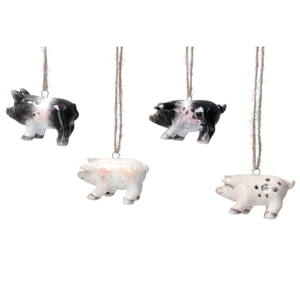 Gisela Graham Farmyard Ceramic Hanging Decorations - 3 Assorted