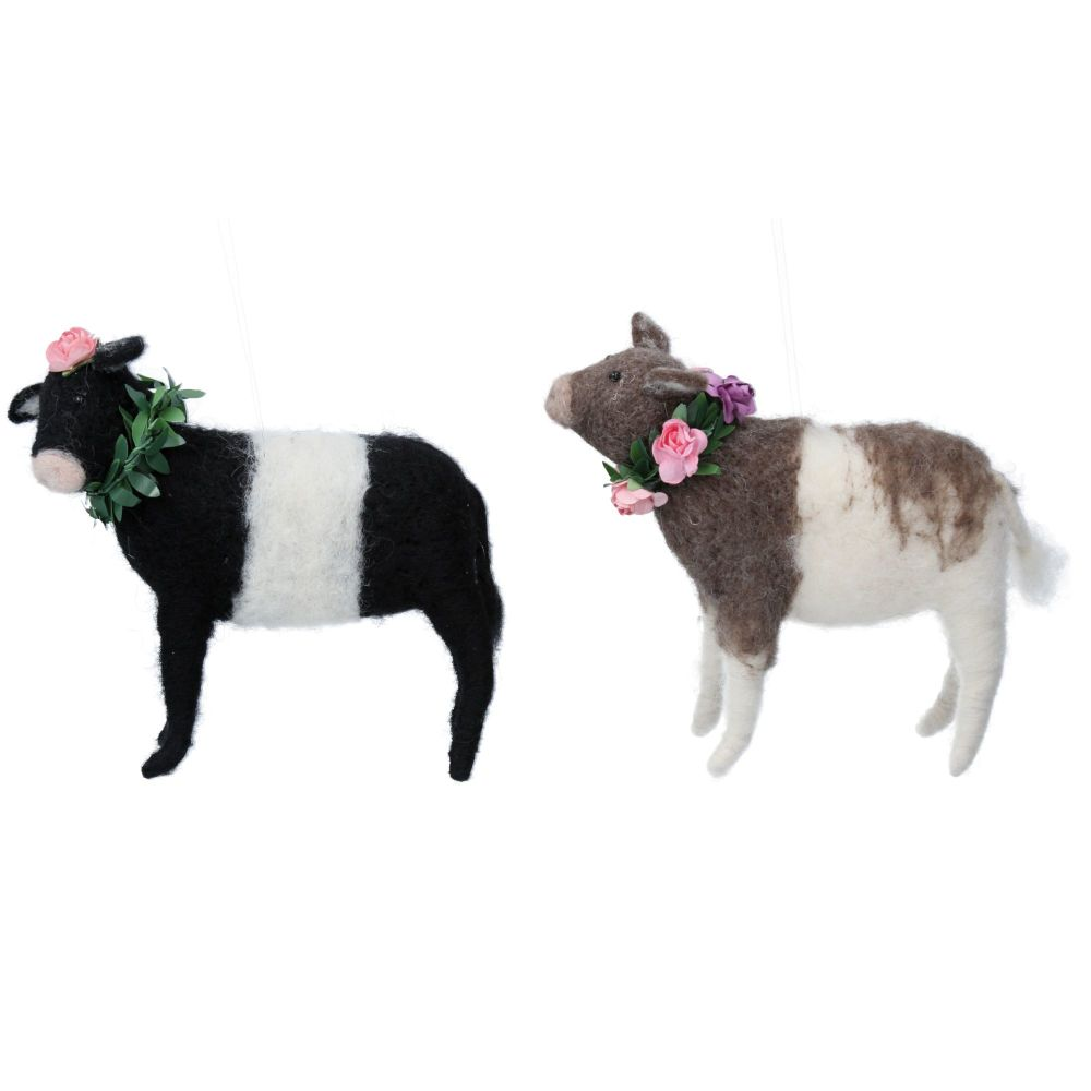 Gisela Graham Woollen Cow with Flowers Ornament - 2 Assorted