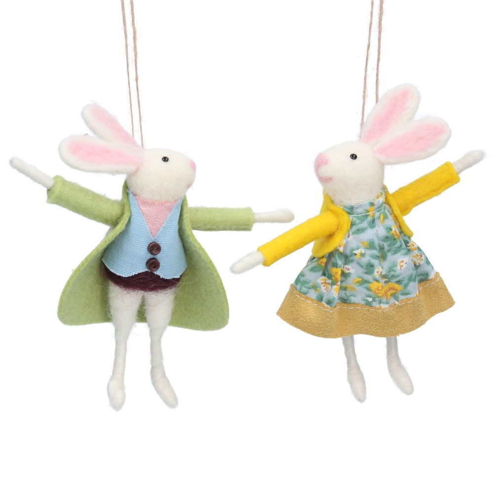 Gisela Graham Woollen Mr and Mrs Bunny Decorations