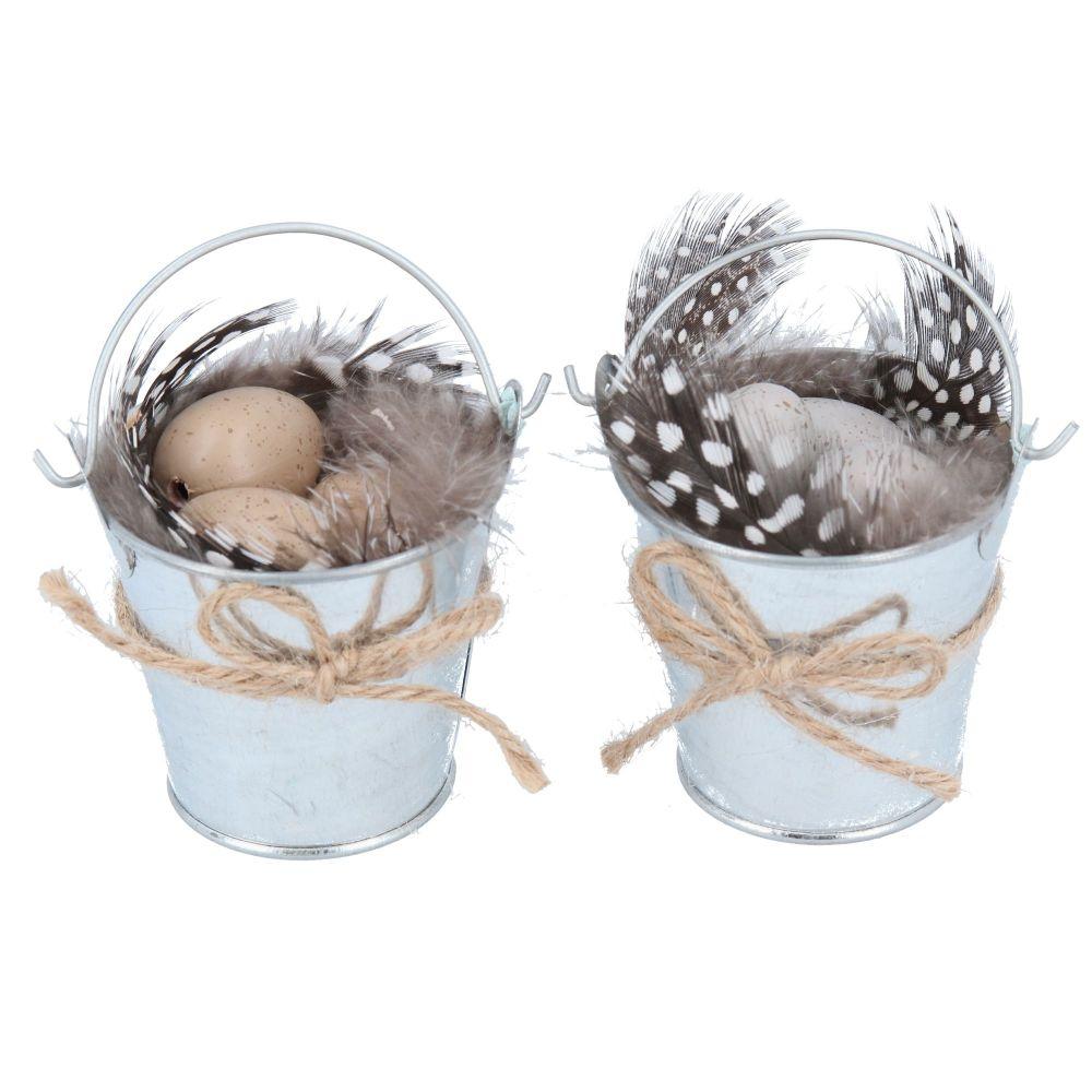 Gisela Graham Tin Bucket of Eggs with Feathers Decoration