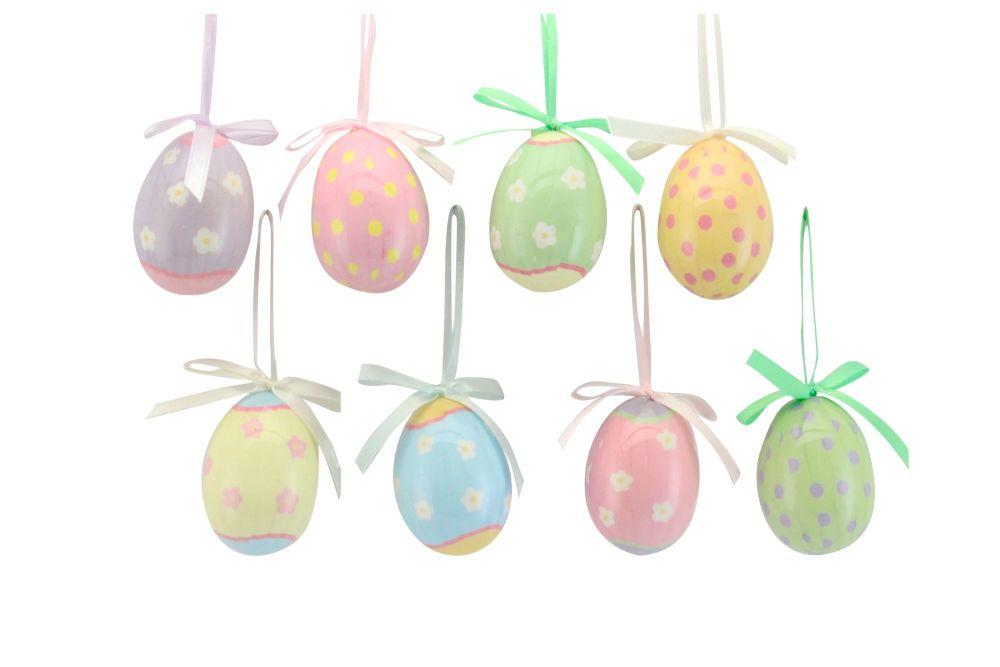Gisela Graham Assorted Pastel Hanging Acrylic Egg Decorations - Set of 8