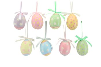Gisela Graham Assorted Pastel Hanging Acrylic Egg Decorations - Set of 8