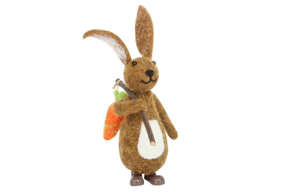 Gisela Graham Woollen Brown Bunny with Carrot Ornament