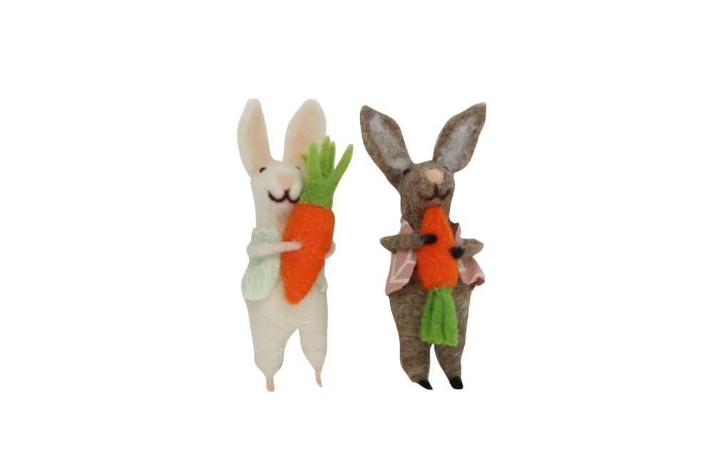 Gisela Graham Woollen Bunny Holding a Carrot Decoration - 2 Assorted