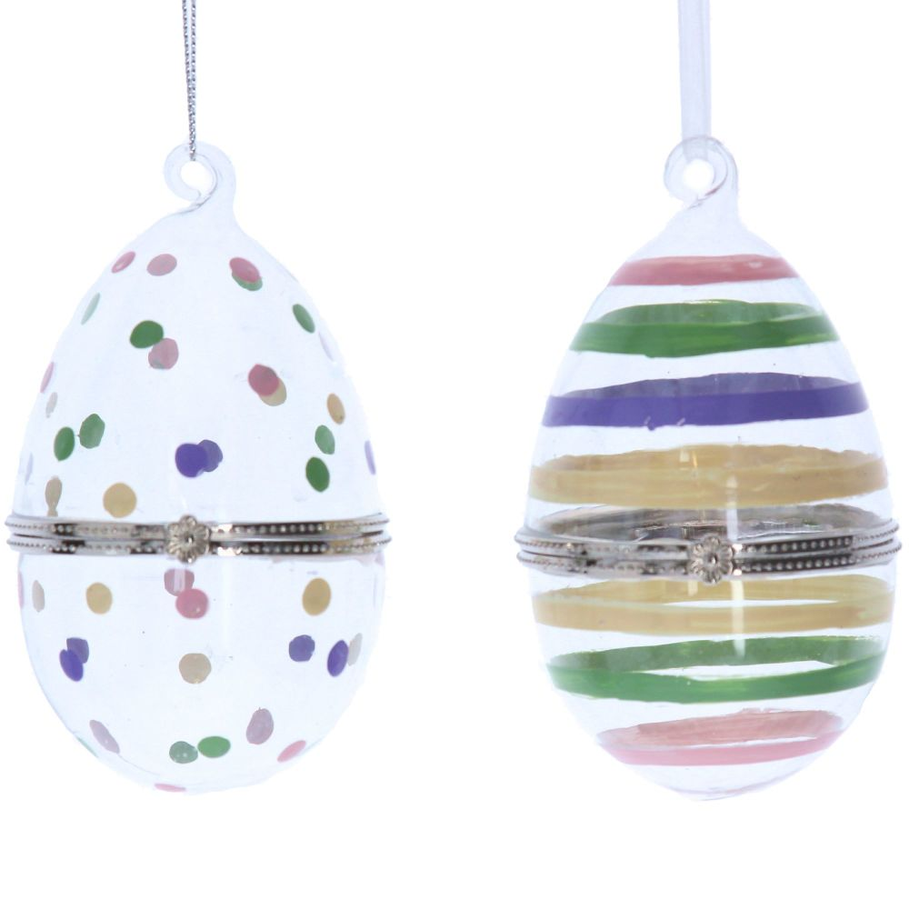 Gisela Graham Glass Egg Container Hanging Decoration - 2 Assorted