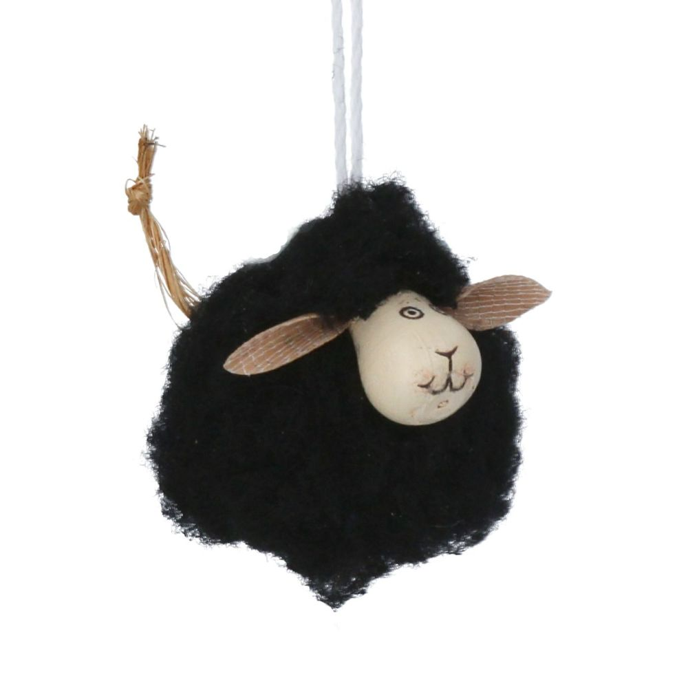 Gisela Graham Mini Black Fluffy Sheep Decoration
