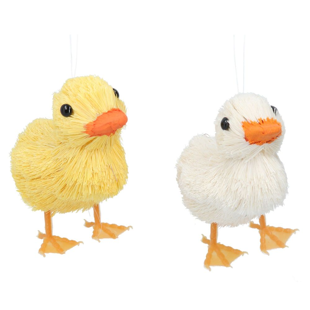 Gisela Graham Bristle Duckling Decoration - 2 Assorted