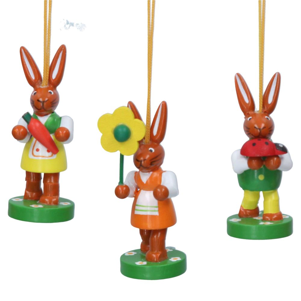 Gisela Graham Traditional Wooden Bunny Decorations - Set of 3