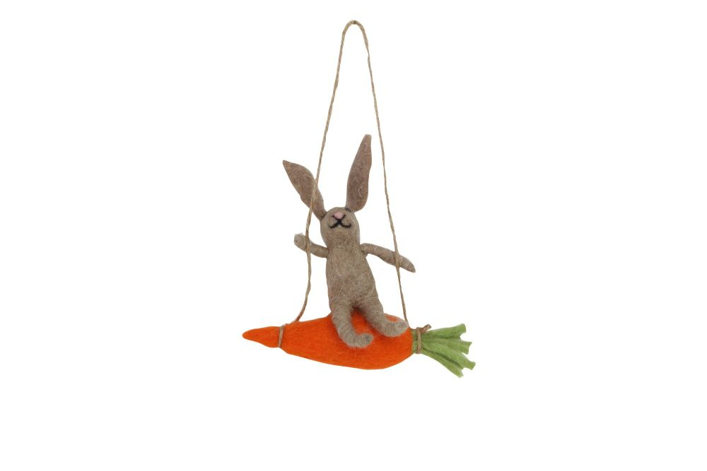 Gisela Graham Woollen Brown Bunny on a Carrot Swing