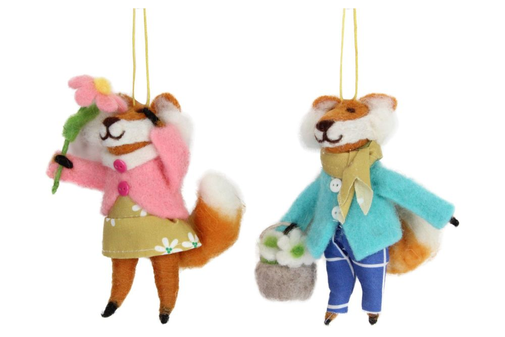 Gisela Graham Woollen Mr and Mrs Fox Decorations - Set of 2
