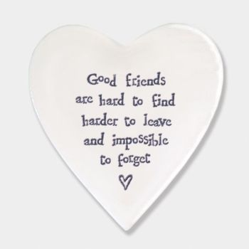 East of India Porcelain 'Good Friends..' Heart Coaster