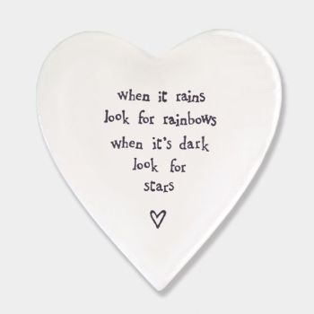 East of India Porcelain 'When it Rains..' Heart Coaster