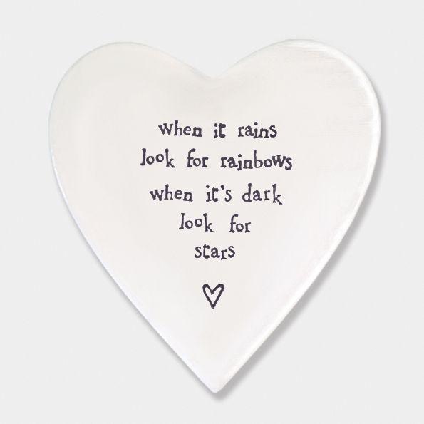 East of India Porcelain 'When it Rains..' Heart Coaster
