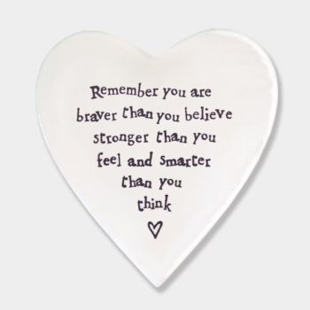 East of India Porcelain 'Remember you are Braver..' Heart Coaster